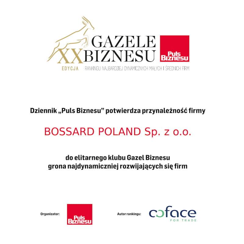 Gazele Biznesu 2019 - dyplom dla Bossard Poland