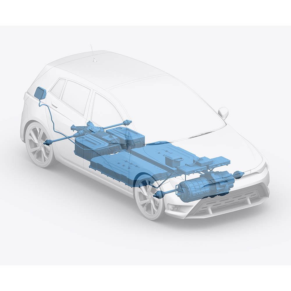Electric Vehicle Powertrain, Inverter, Battery